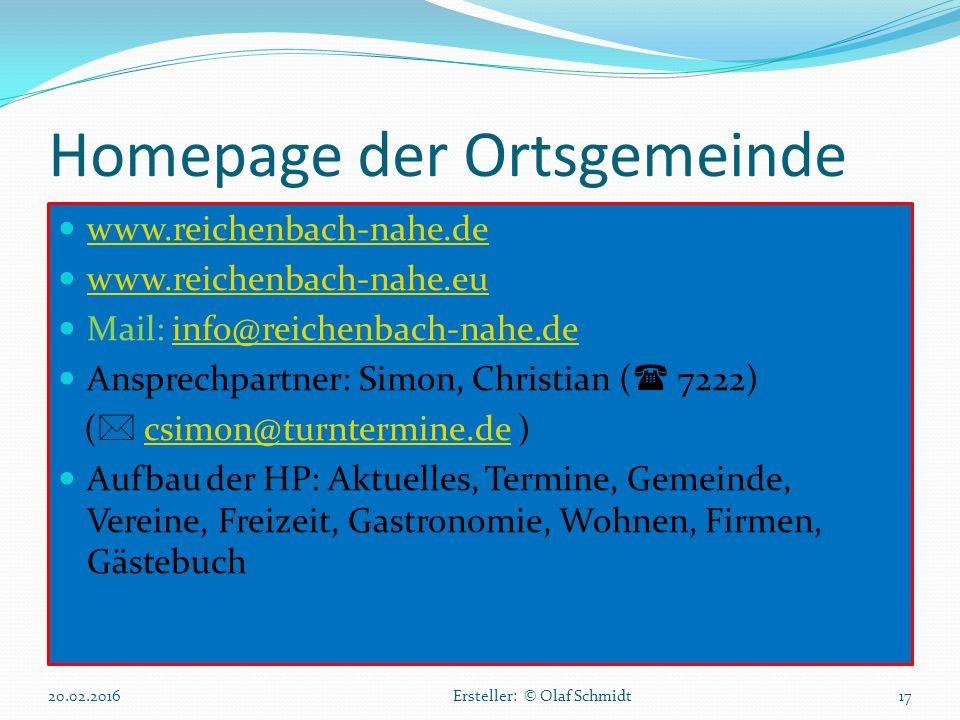 Homepage der Ortsgemeinde www.reichenbach-nahe.de www.reichenbach-nahe.eu Mail: info@reichenbach-nahe.deinfo@reichenbach-nahe.de Ansprechpartner: Simo