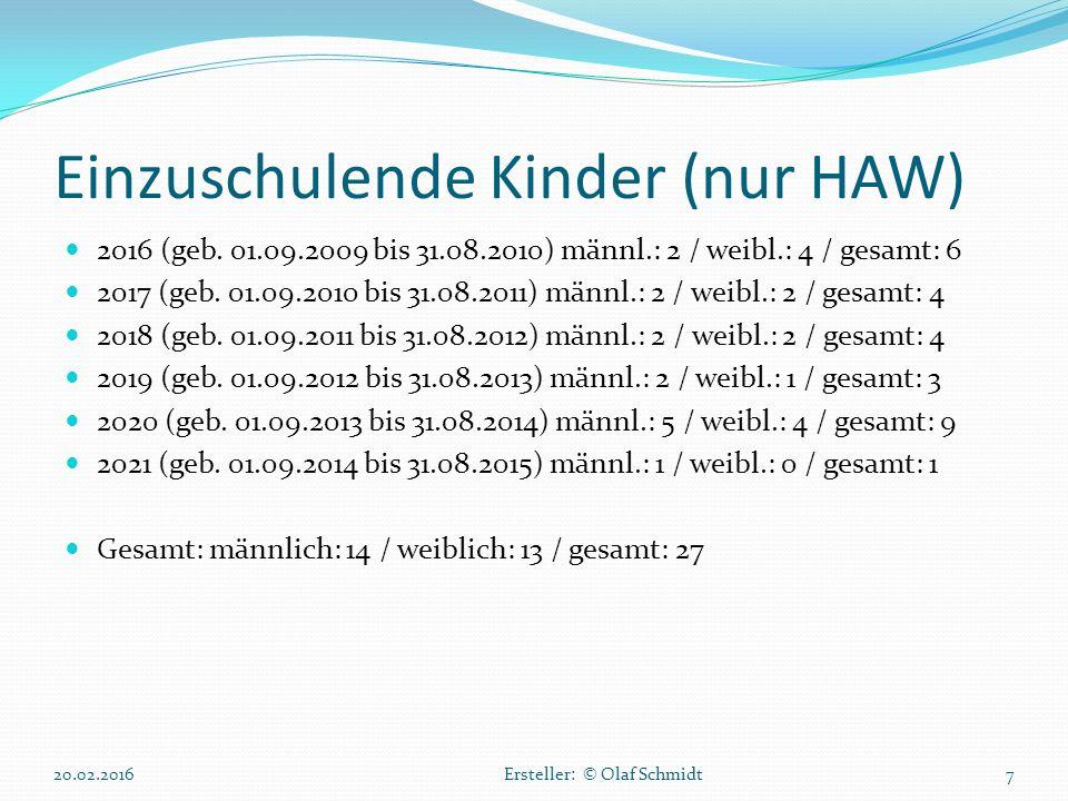 Einzuschulende Kinder (nur HAW) 2016 (geb. 01.09.2009 bis 31.08.2010) männl.: 2 / weibl.: 4 / gesamt: 6 2017 (geb. 01.09.2010 bis 31.08.2011) männl.: