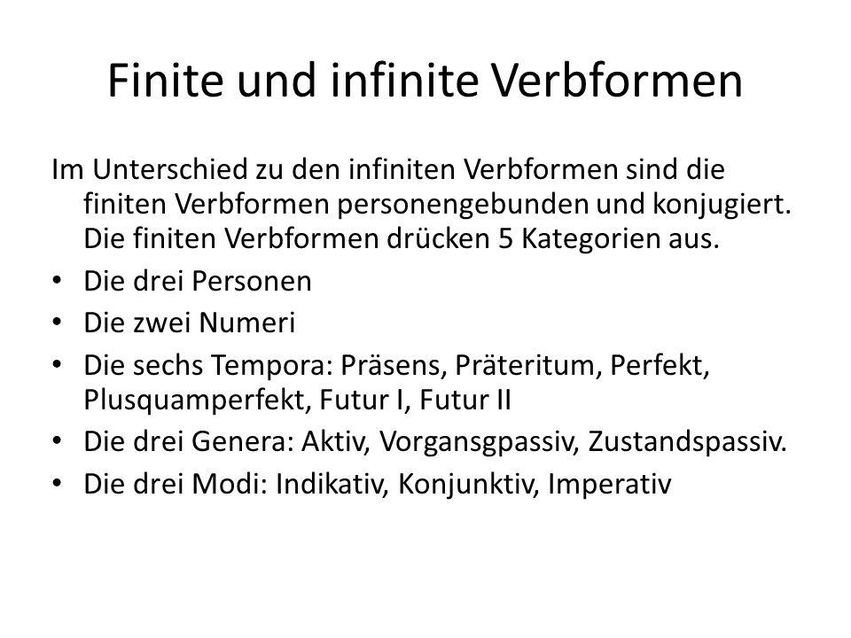 Finite und infinite Verbformen Im Unterschied zu den infiniten Verbformen sind die finiten Verbformen personengebunden und konjugiert.