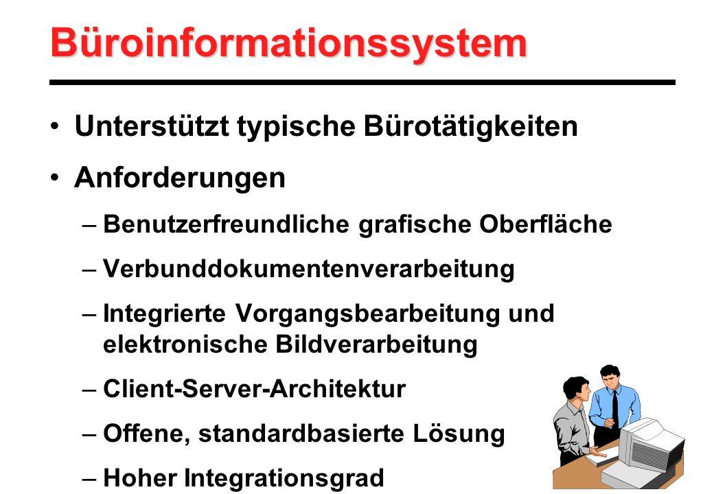 Büroinformationssystem Unterstützt typische Bürotätigkeiten Anforderungen –Benutzerfreundliche grafische Oberfläche –Verbunddokumentenverarbeitung –In