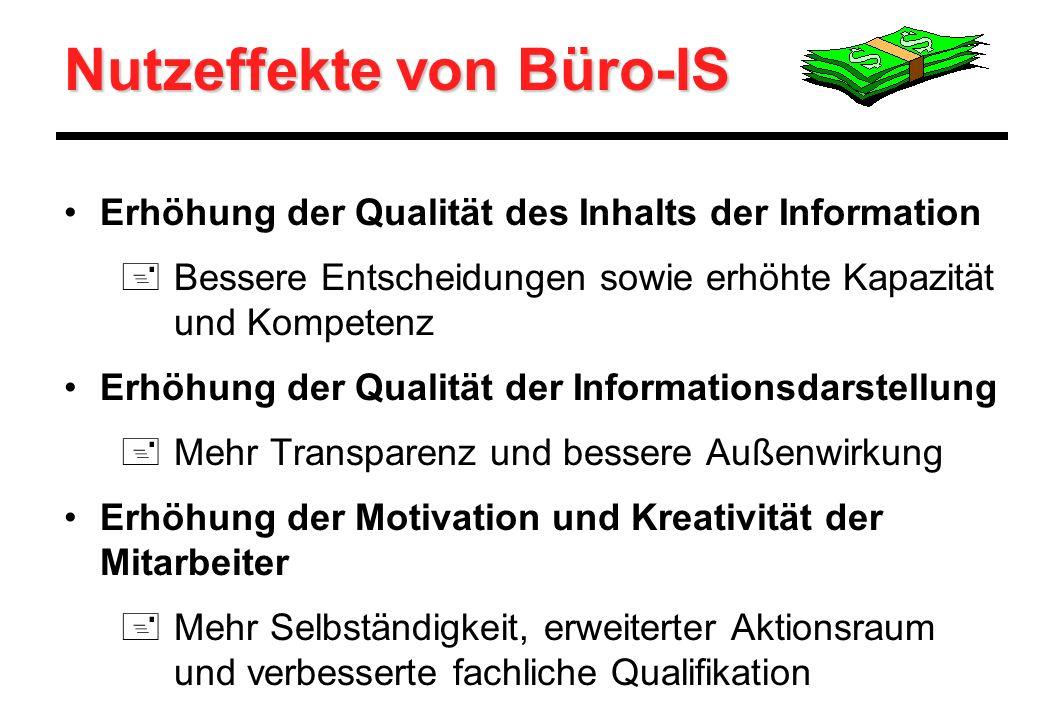 Erhöhung der Qualität des Inhalts der Information +Bessere Entscheidungen sowie erhöhte Kapazität und Kompetenz Erhöhung der Qualität der Informations