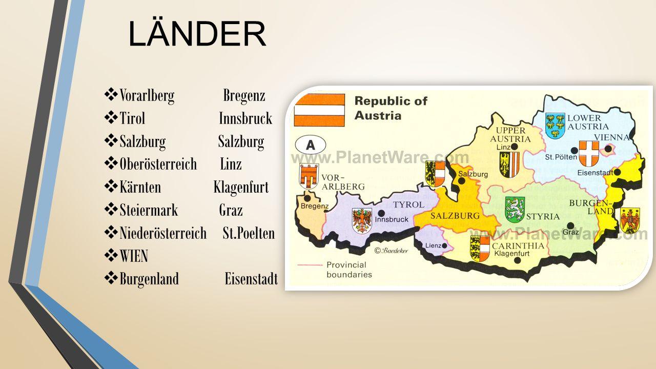 LÄNDER  Vorarlberg Bregenz  Tirol Innsbruck  Salzburg Salzburg  Oberösterreich Linz  Kärnten Klagenfurt  Steiermark Graz  Niederösterreich St.P