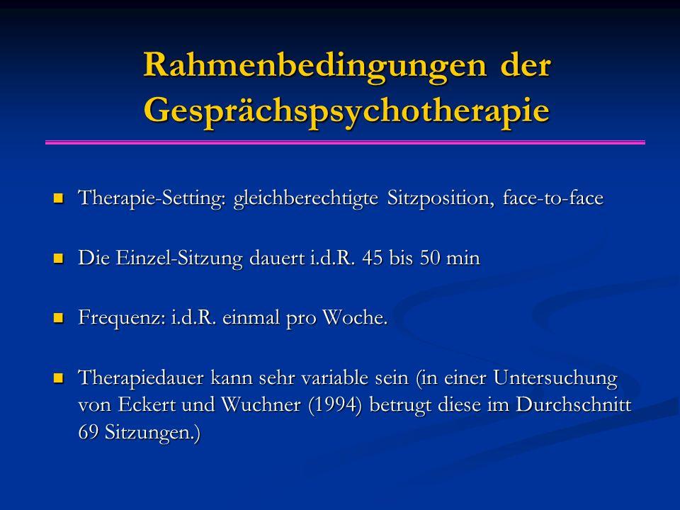 Rahmenbedingungen der Gesprächspsychotherapie Therapie-Setting: gleichberechtigte Sitzposition, face-to-face Therapie-Setting: gleichberechtigte Sitzp
