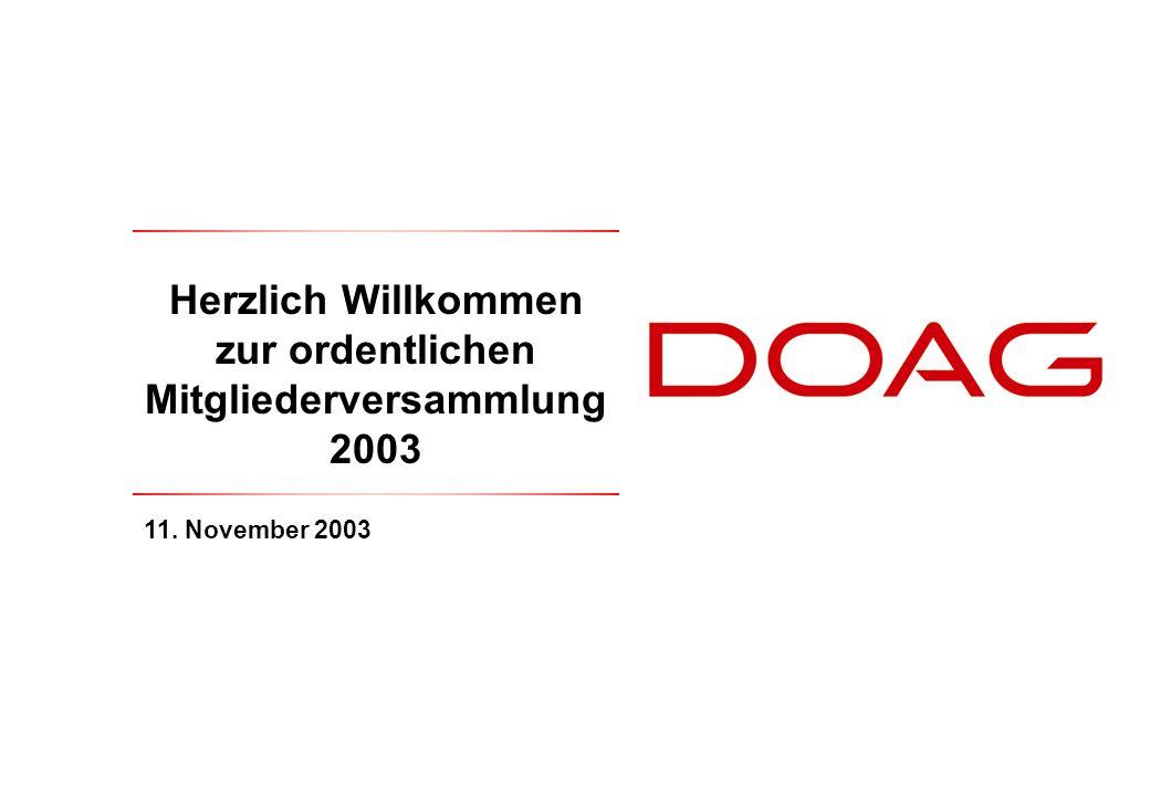Herzlich Willkommen zur ordentlichen Mitgliederversammlung 2003 11. November 2003