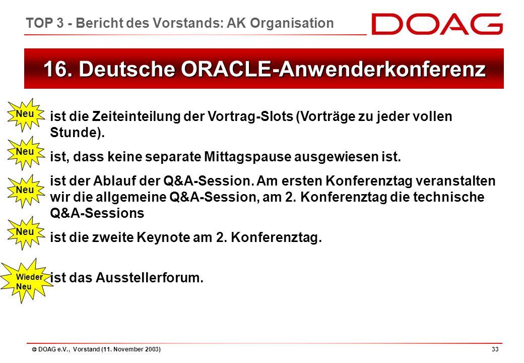  DOAG e.V., Vorstand (11. November 2003)33 16.