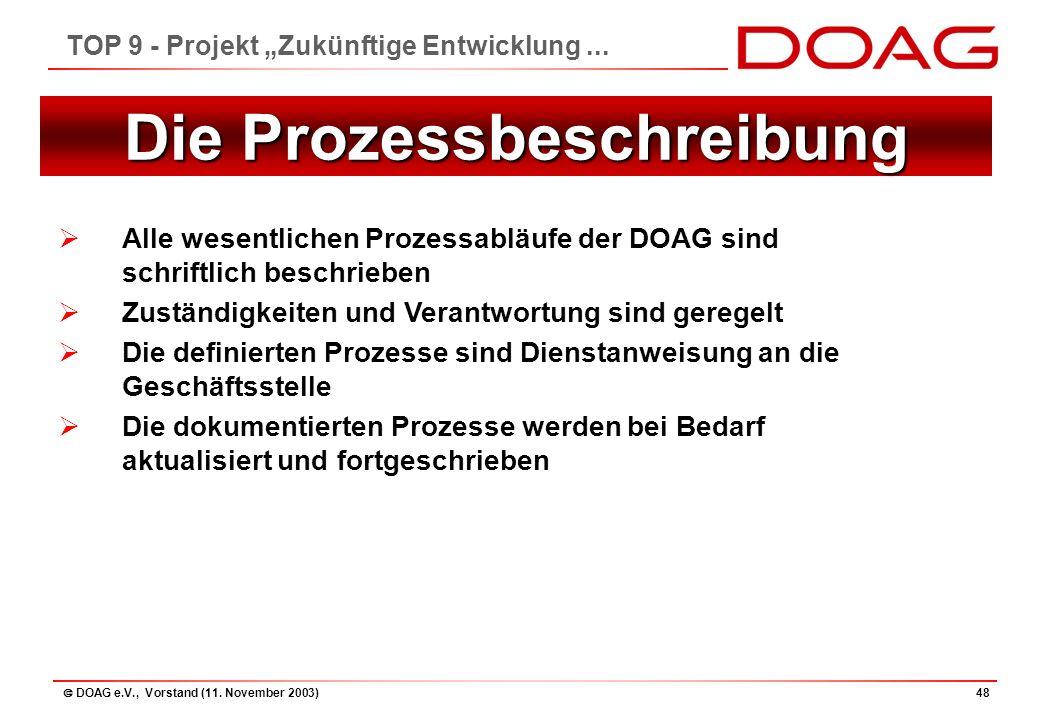 """ DOAG e.V., Vorstand (11. November 2003)48 TOP 9 - Projekt """"Zukünftige Entwicklung..."""