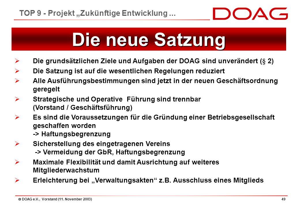 """ DOAG e.V., Vorstand (11. November 2003)49 TOP 9 - Projekt """"Zukünftige Entwicklung..."""