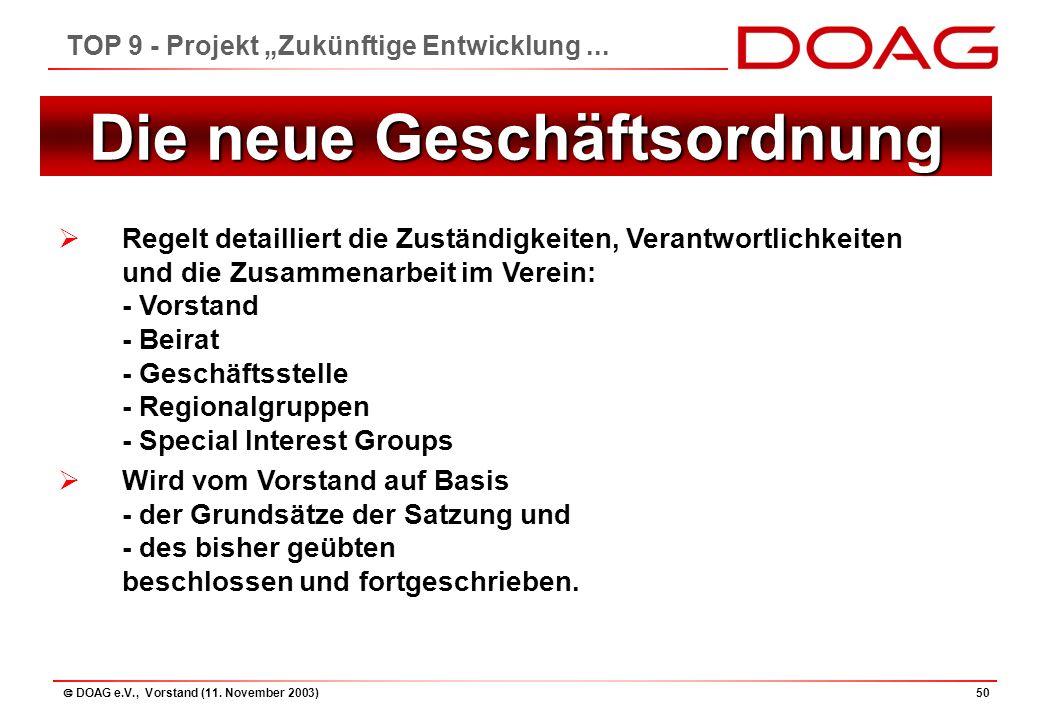 """ DOAG e.V., Vorstand (11. November 2003)50 TOP 9 - Projekt """"Zukünftige Entwicklung..."""
