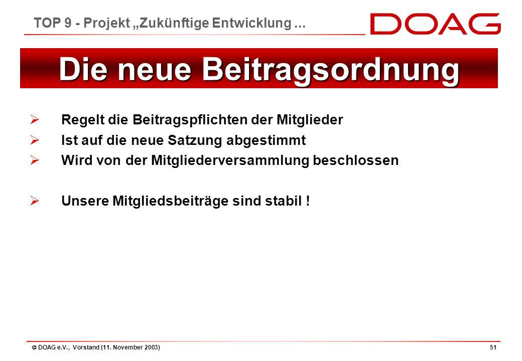""" DOAG e.V., Vorstand (11. November 2003)51 TOP 9 - Projekt """"Zukünftige Entwicklung..."""