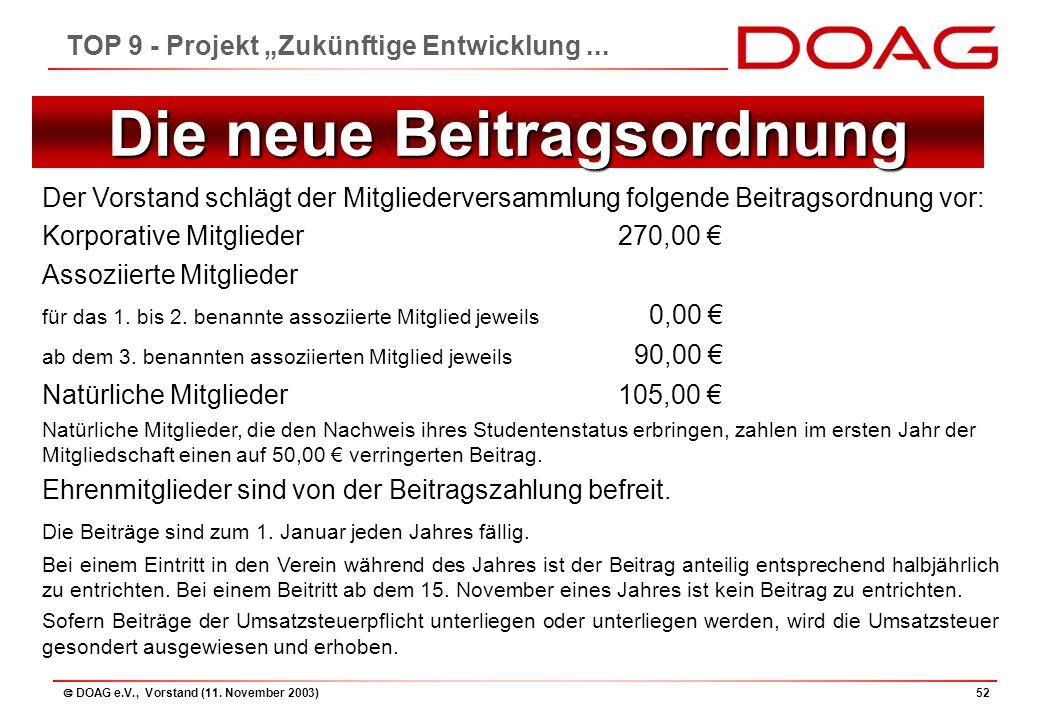 """ DOAG e.V., Vorstand (11. November 2003)52 TOP 9 - Projekt """"Zukünftige Entwicklung..."""