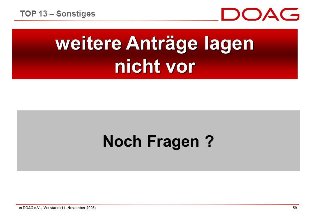 DOAG e.V., Vorstand (11. November 2003)59 Noch Fragen .