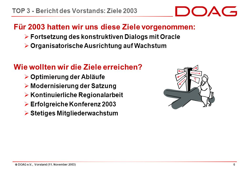  DOAG e.V., Vorstand (11. November 2003)37 TOP 4 – Bilanz 2002