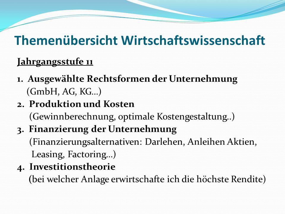 Themenübersicht Wirtschaftswissenschaft Jahrgangsstufe 11 1.