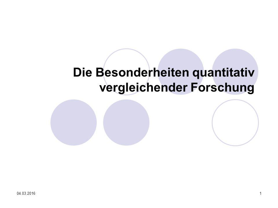 04.03.201612 Quantitativ vergleichende Methoden (Oskar Niedermayer und Ulrich Widmaier) Probleme: (Aggregatdatenanalyse) Validitätsprobleme:  Missing values  systematische Verzerrung  Zeitliche Invarianz von Querschnittsanalysen
