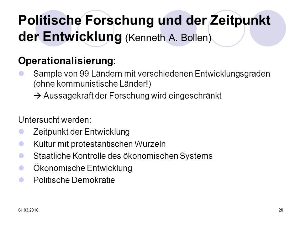 04.03.201628 Politische Forschung und der Zeitpunkt der Entwicklung (Kenneth A.