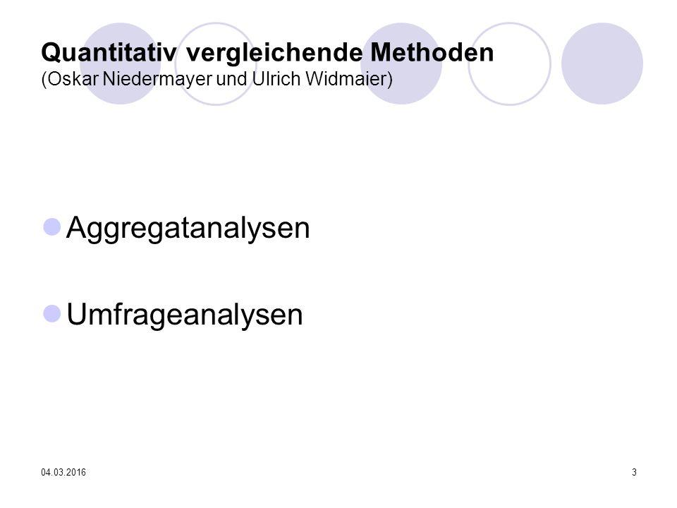 04.03.20163 Quantitativ vergleichende Methoden (Oskar Niedermayer und Ulrich Widmaier) Aggregatanalysen Umfrageanalysen