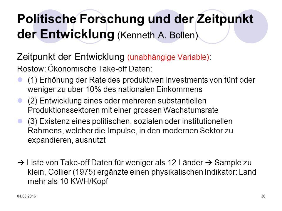 04.03.201630 Politische Forschung und der Zeitpunkt der Entwicklung (Kenneth A.