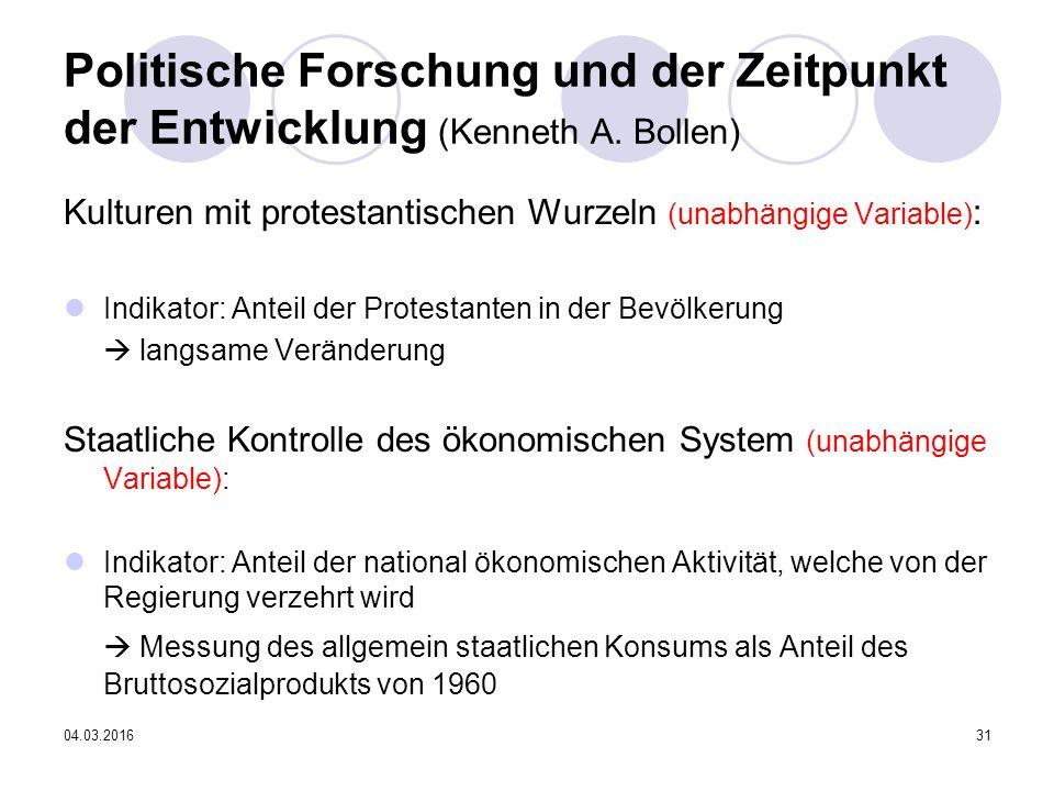 04.03.201631 Politische Forschung und der Zeitpunkt der Entwicklung (Kenneth A.