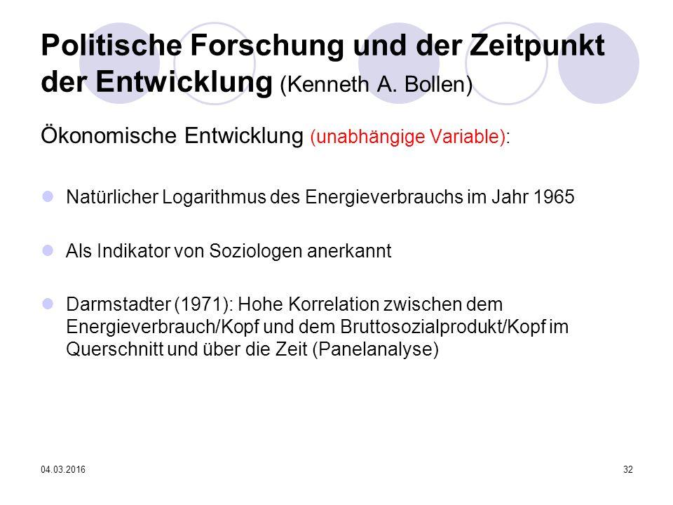 04.03.201632 Politische Forschung und der Zeitpunkt der Entwicklung (Kenneth A.