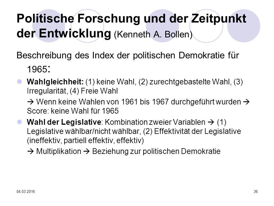 04.03.201636 Politische Forschung und der Zeitpunkt der Entwicklung (Kenneth A.