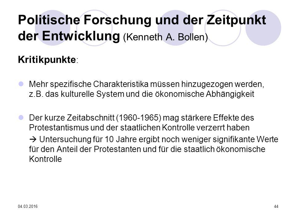04.03.201644 Politische Forschung und der Zeitpunkt der Entwicklung (Kenneth A.