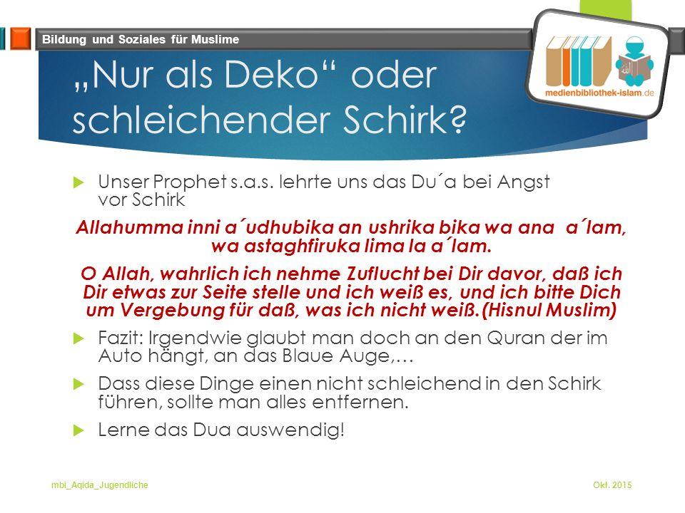 """Bildung und Soziales für Muslime """"Nur als Deko oder schleichender Schirk."""