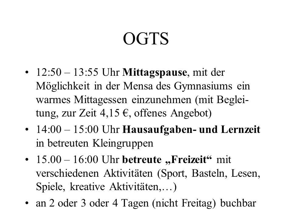 OGTS 12:50 – 13:55 Uhr Mittagspause, mit der Möglichkeit in der Mensa des Gymnasiums ein warmes Mittagessen einzunehmen (mit Beglei- tung, zur Zeit 4,