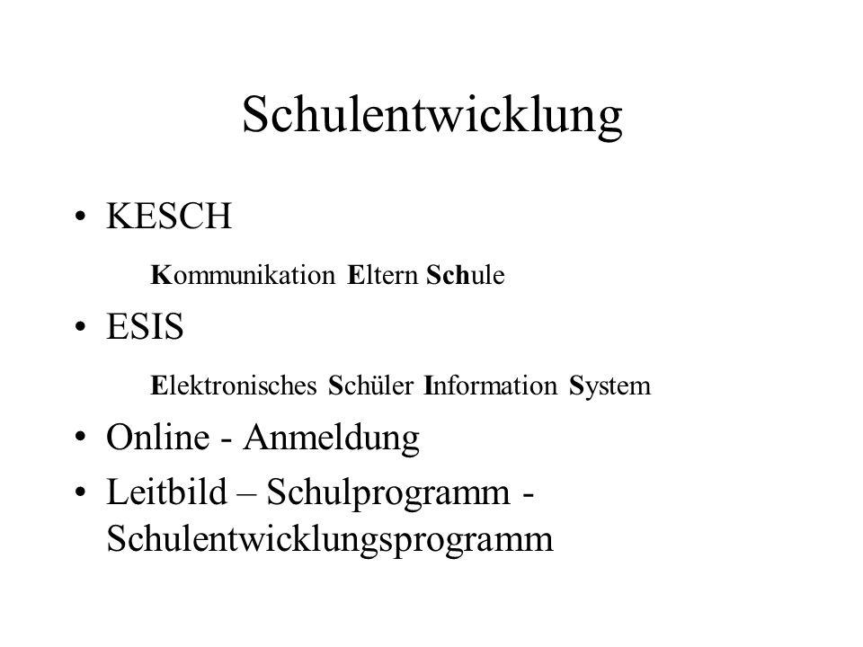 Schulentwicklung KESCH Kommunikation Eltern Schule ESIS Elektronisches Schüler Information System Online - Anmeldung Leitbild – Schulprogramm - Schule