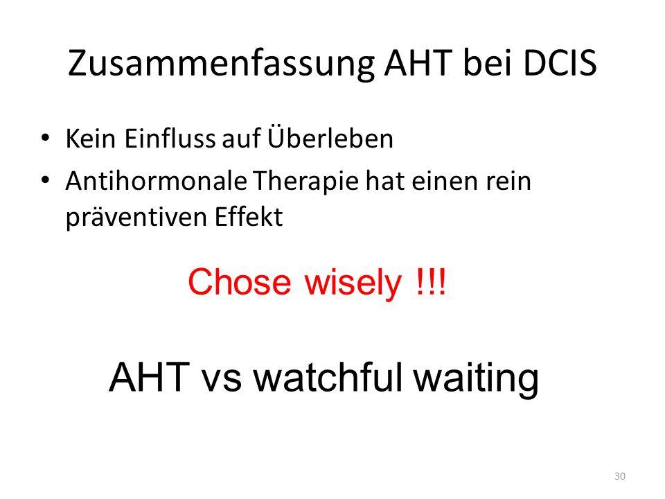 Zusammenfassung AHT bei DCIS Kein Einfluss auf Überleben Antihormonale Therapie hat einen rein präventiven Effekt 30 Chose wisely !!! AHT vs watchful