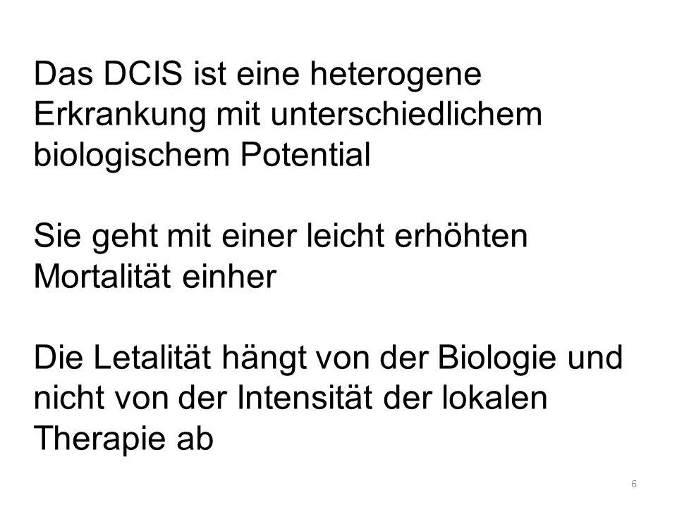 6 Das DCIS ist eine heterogene Erkrankung mit unterschiedlichem biologischem Potential Sie geht mit einer leicht erhöhten Mortalität einher Die Letalität hängt von der Biologie und nicht von der Intensität der lokalen Therapie ab