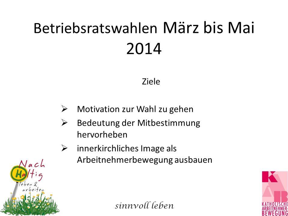 Betriebsratswahlen März bis Mai 2014 Ziele  Motivation zur Wahl zu gehen  Bedeutung der Mitbestimmung hervorheben  innerkirchliches Image als Arbeitnehmerbewegung ausbauen sinnvoll leben