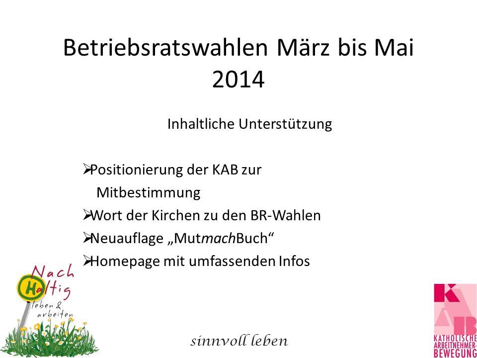 Betriebsratswahlen März bis Mai 2014 Inhaltliche Unterstützung  Positionierung der KAB zur Mitbestimmung  Wort der Kirchen zu den BR-Wahlen  Neuauf