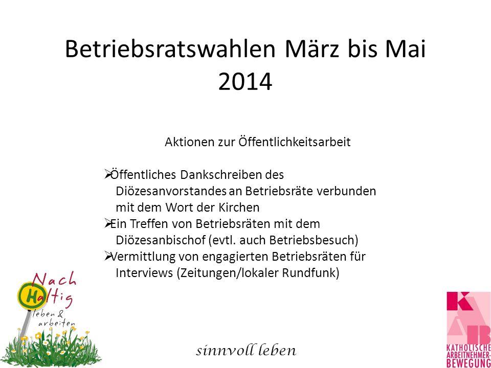 Betriebsratswahlen März bis Mai 2014 Aktionen zur Öffentlichkeitsarbeit  Öffentliches Dankschreiben des Diözesanvorstandes an Betriebsräte verbunden