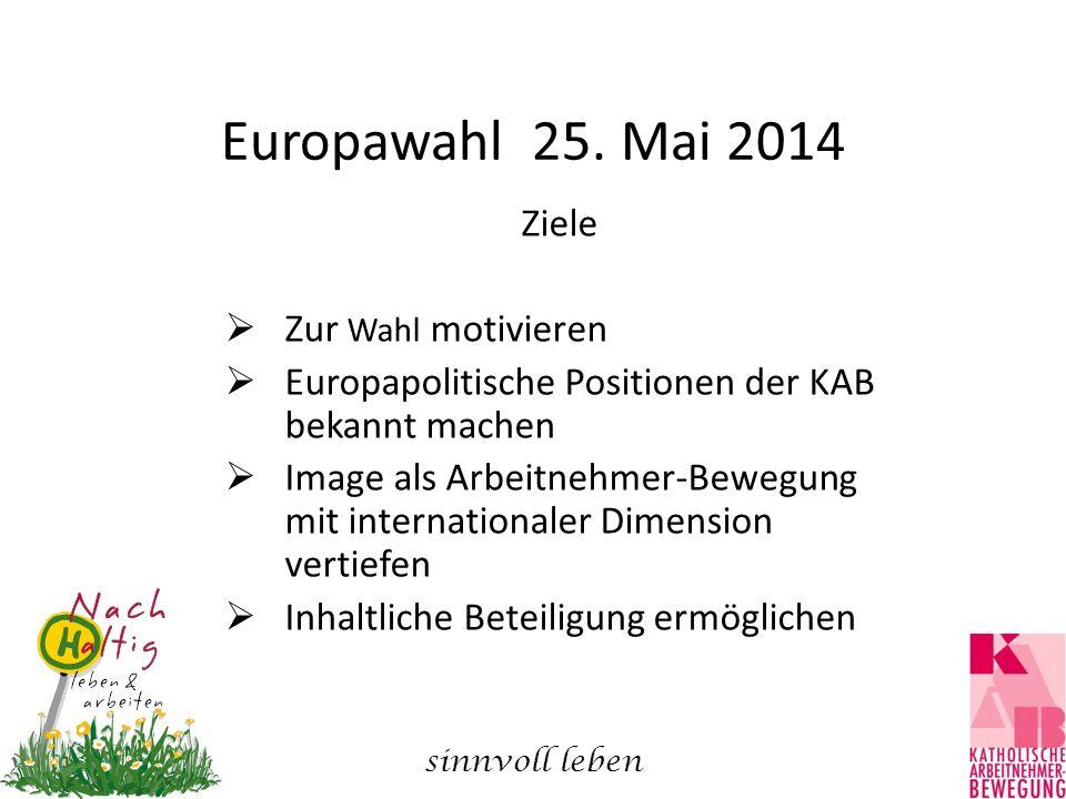 Europawahl 25. Mai 2014 Ziele  Zur Wahl motivieren  Europapolitische Positionen der KAB bekannt machen  Image als Arbeitnehmer-Bewegung mit interna