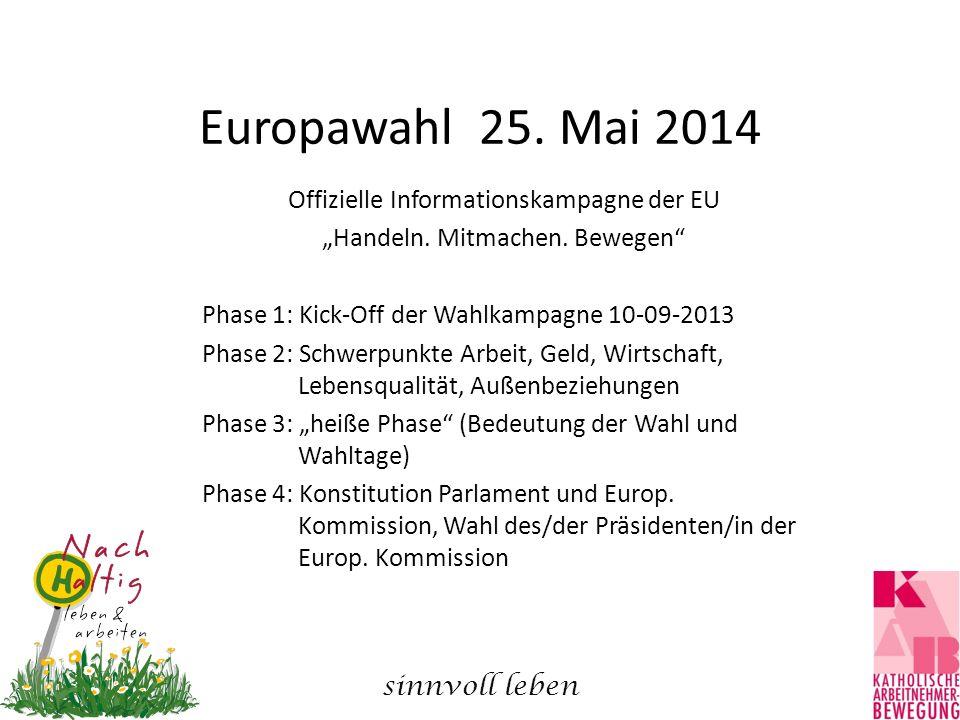 """Europawahl 25. Mai 2014 Offizielle Informationskampagne der EU """"Handeln. Mitmachen. Bewegen"""" Phase 1: Kick-Off der Wahlkampagne 10-09-2013 Phase 2: Sc"""