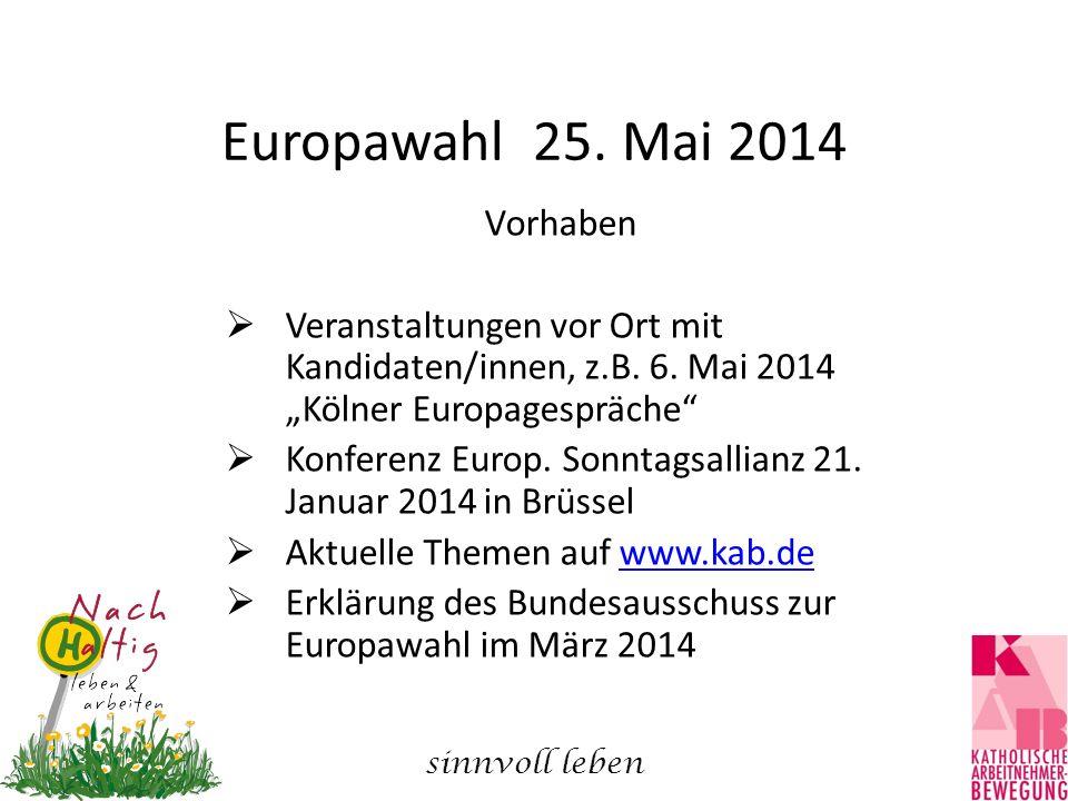 """Europawahl 25. Mai 2014 Vorhaben  Veranstaltungen vor Ort mit Kandidaten/innen, z.B. 6. Mai 2014 """"Kölner Europagespräche""""  Konferenz Europ. Sonntags"""