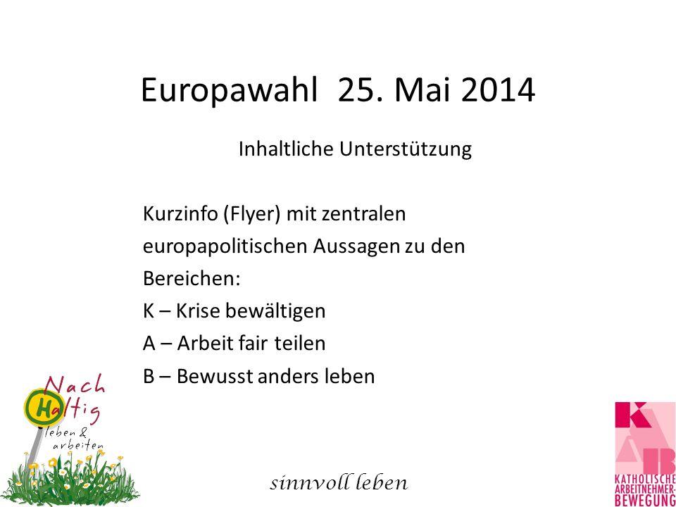 Europawahl 25. Mai 2014 Inhaltliche Unterstützung Kurzinfo (Flyer) mit zentralen europapolitischen Aussagen zu den Bereichen: K – Krise bewältigen A –