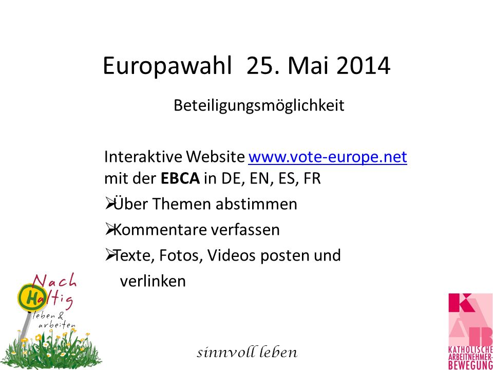 Europawahl 25. Mai 2014 Beteiligungsmöglichkeit Interaktive Website www.vote-europe.net mit der EBCA in DE, EN, ES, FRwww.vote-europe.net  Über Theme