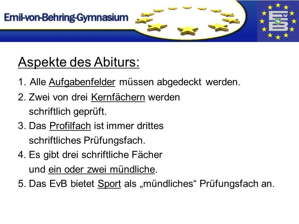 Aspekte des Abiturs: 1. Alle Aufgabenfelder müssen abgedeckt werden.
