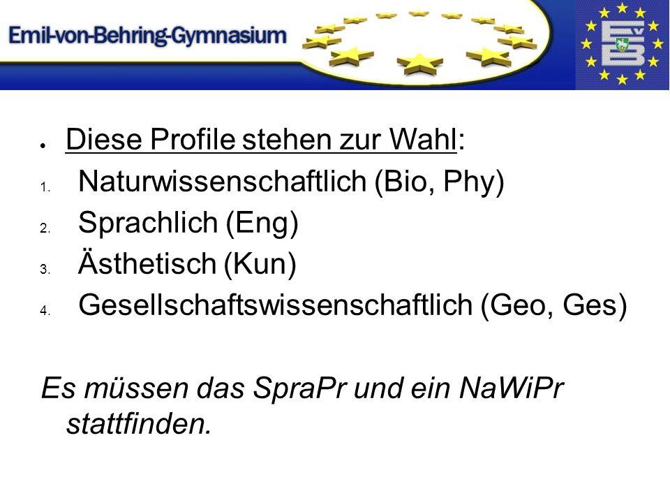  Diese Profile stehen zur Wahl: 1. Naturwissenschaftlich (Bio, Phy) 2.