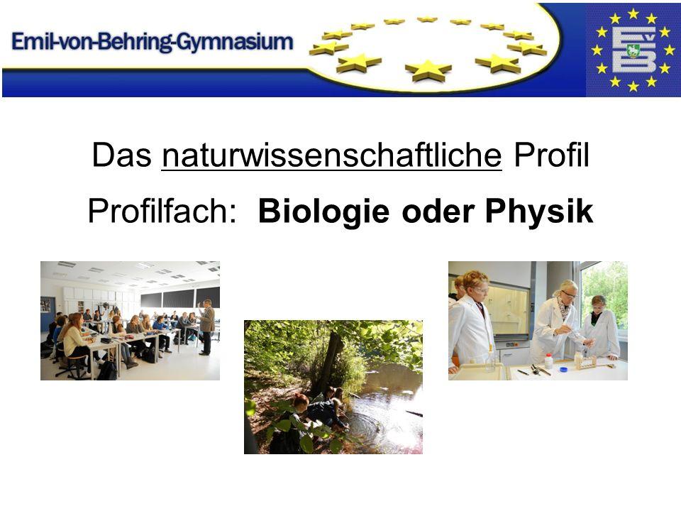 Das naturwissenschaftliche Profil Profilfach: Biologie oder Physik