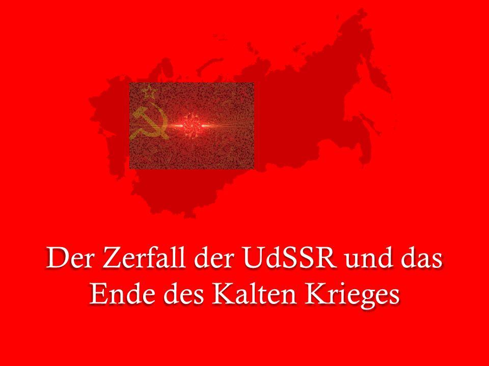 """Anzeichen für den Niedergang der UdSSR finden sich seit den späten 1970er Jahren 1979 marschiert die UdSSR in Afghanistan ein, um die dortige Kommunistische Partei an der Regierung zu halten- doch der Krieg zögert sich hinaus (bis 1989) In Polen protestiert die Gewerkschaft """"Solidarnosc seit 1981 gegen den Allein- vertretungsan- spruch der Partei Sinnbild für die Krise wird die Reaktorkatastrophe in Tschernobyl 1985- Die UdSSR ist nicht mehr in der Lage, die Hochtechnologie zu kontrollieren"""