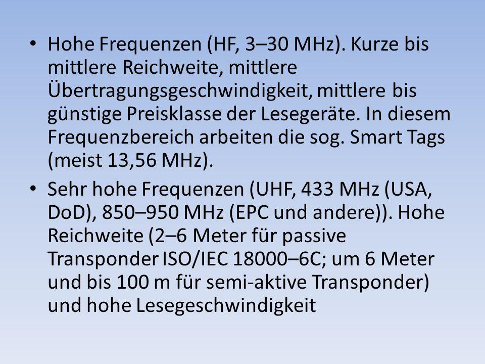 Hohe Frequenzen (HF, 3–30 MHz). Kurze bis mittlere Reichweite, mittlere Übertragungsgeschwindigkeit, mittlere bis günstige Preisklasse der Lesegeräte.
