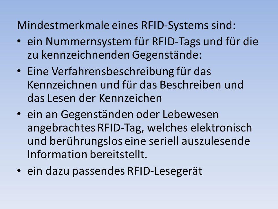Mindestmerkmale eines RFID-Systems sind: ein Nummernsystem für RFID-Tags und für die zu kennzeichnenden Gegenstände: Eine Verfahrensbeschreibung für d