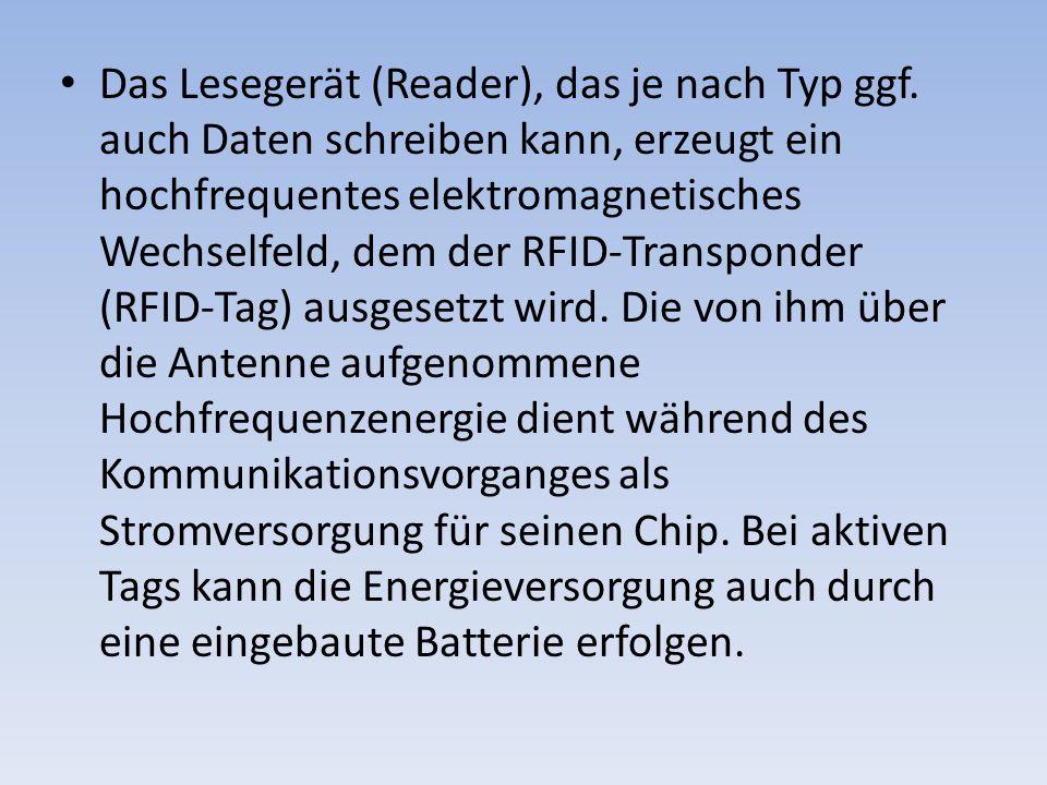 Das Lesegerät (Reader), das je nach Typ ggf. auch Daten schreiben kann, erzeugt ein hochfrequentes elektromagnetisches Wechselfeld, dem der RFID-Trans