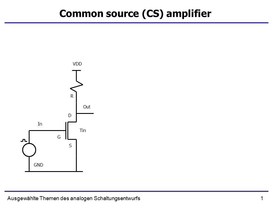 1Ausgewählte Themen des analogen Schaltungsentwurfs Common source (CS) amplifier In Out R S G D GND VDD Tin