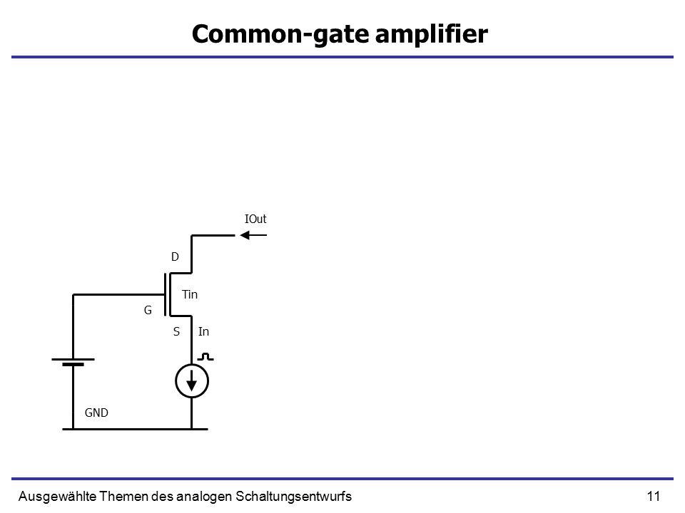 11Ausgewählte Themen des analogen Schaltungsentwurfs Common-gate amplifier In IOut S G D GND Tin