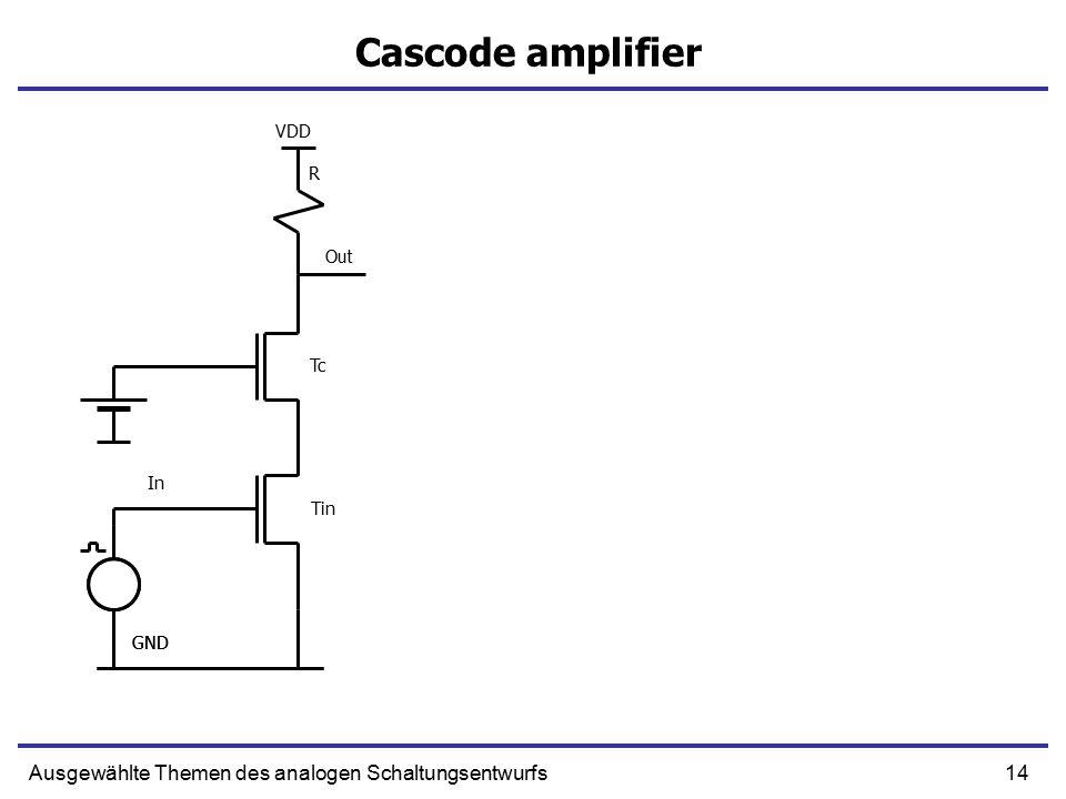 14Ausgewählte Themen des analogen Schaltungsentwurfs Cascode amplifier GND Tc In Out R GND VDD Tin