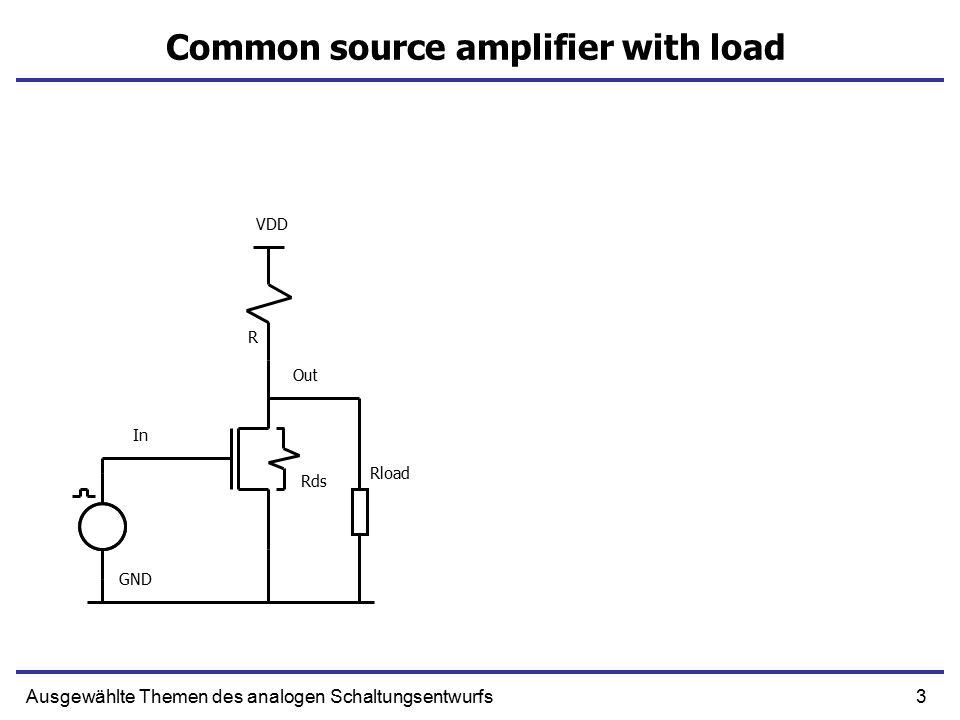 3Ausgewählte Themen des analogen Schaltungsentwurfs Common source amplifier with load In Out R GND VDD Rds Rload