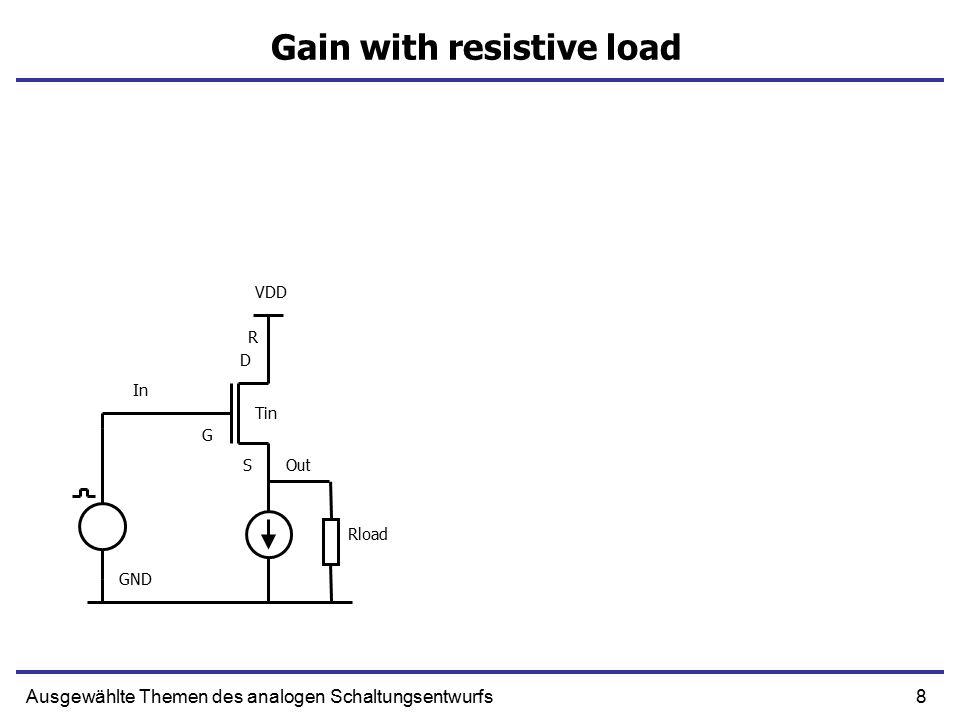 8Ausgewählte Themen des analogen Schaltungsentwurfs Gain with resistive load In Out R S G D GND VDD Tin Rload